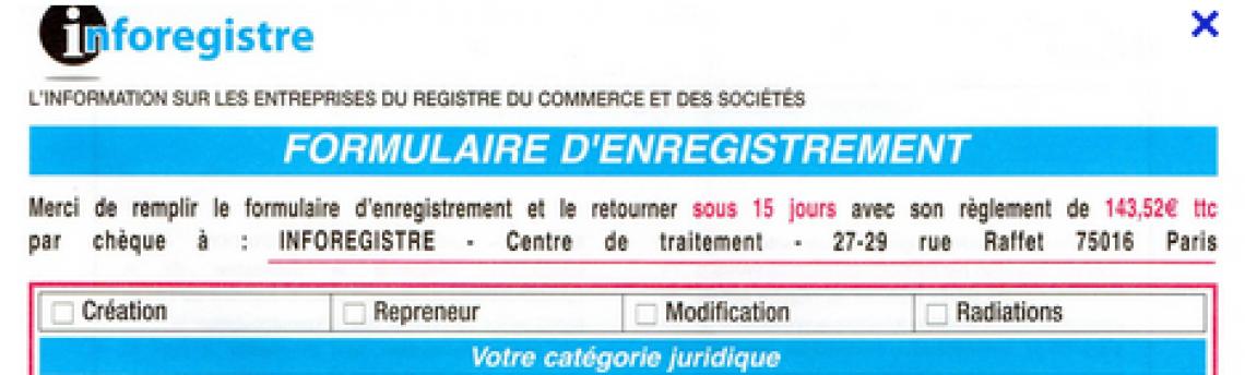 16/02/2015 : Arnaques aux créateurs d'entreprise : SARL INFOREGISTRE condamnée
